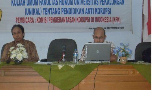 Kuliah Umum Anti Korupsi oleh KPK  Bagi mahasiswa Fakultas Hukum