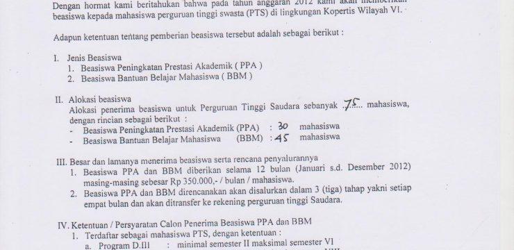 Pemberitahuan Beasiswa Dari Kopertis 6
