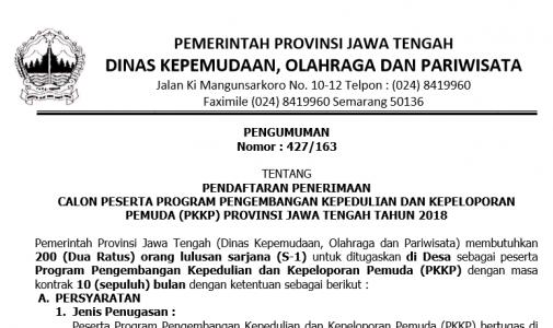 PENDAFTARAN PENERIMAAN CALON PESERTA PROGRAM PENGEMBANGAN KEPEDULIAN DAN KEPELOPORAN PEMUDA (PKKP) PROVINSI JAWA TENGAH TAHUN 2018