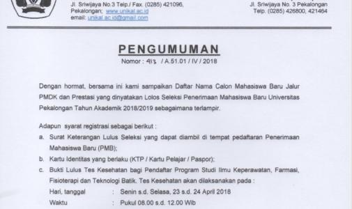 PENGUMUMAN HASIL SELEKSI PENDAFTARAN PENERIMAAN MAHASISWA BARU UNIVERSITAS PEKALONGAN JALUR PMDK DAN PRESTASI